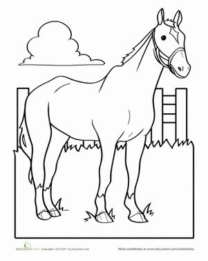 worksheet education 263 | horse coloring page animals preschool