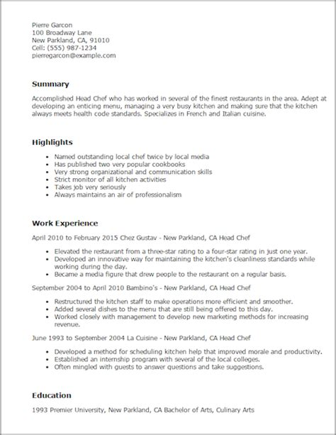 culinary specialist resume exles save changes