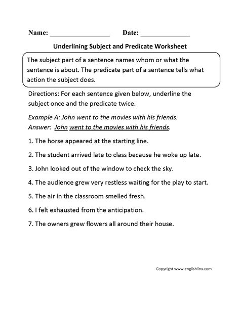 Simple Subject And Predicate Worksheets For 3rd Grade  Subjects Simple Subject And Predicate