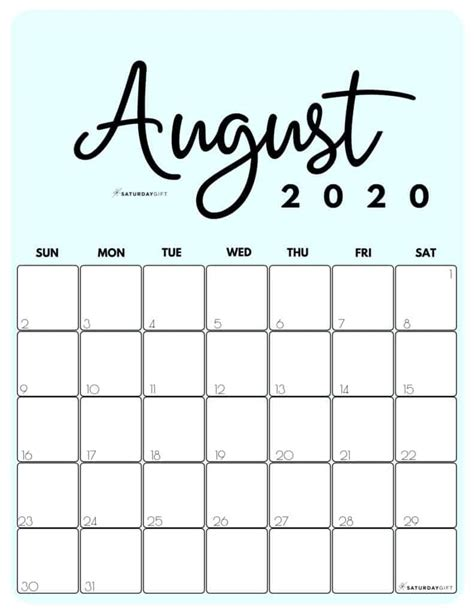 cute  printable august  calendar saturdaygift