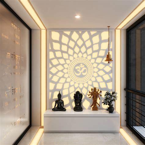 interior designer homes a hypnotic 39 aum 39 back lit panel in the pooja room pooja