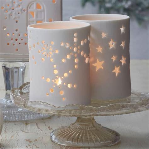 matt white christmas tea light holder by the christmas