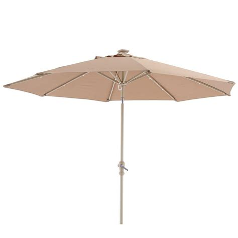 hton bay 9 ft round aluminum solar patio umbrella in