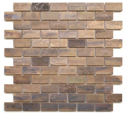 Medium Brick Antique Copper Mosaic Tile, Sheet