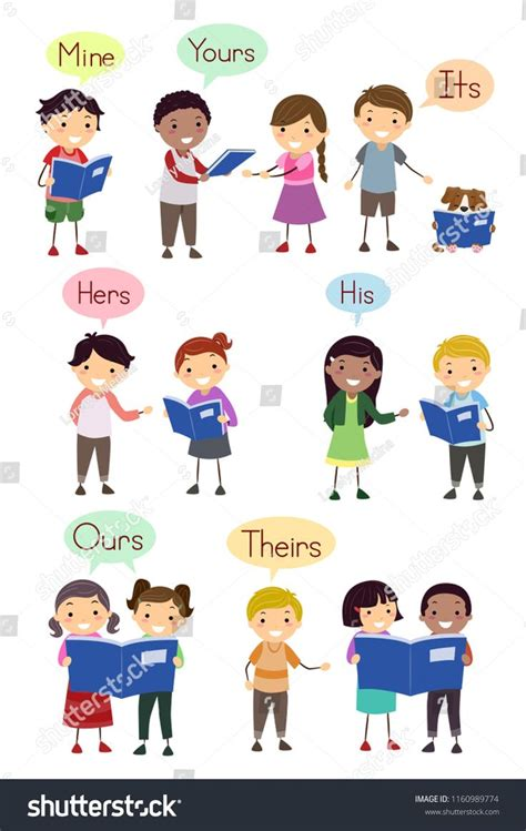 illustration  stickman kids showing examples