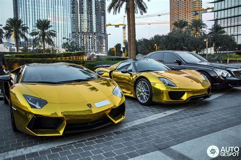 gold porsche truck gold porsche 918 spider and aventador supercars all day