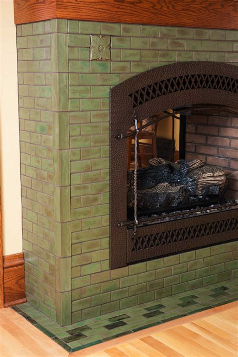 hawthorn  pesto arts crafts tile fireplace
