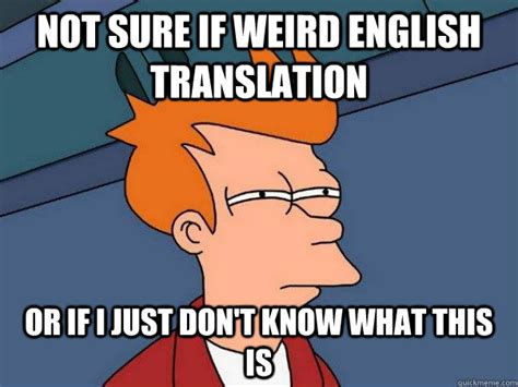 Translate Meme - not sure if weird english translation or if i just don t know what this is futurama fry