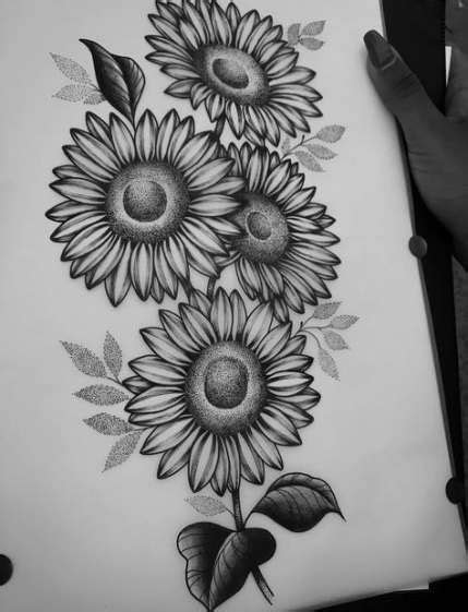 Super Flowers Drawing Design Cute Ideas #drawing #flowers | Sunflower tattoos, Sunflower tattoo