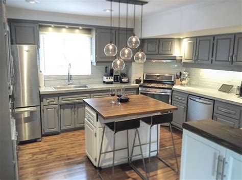 diy wide plank butcher block counter tops simplymaggie kitchen makeover concrete countertops cb2 light and