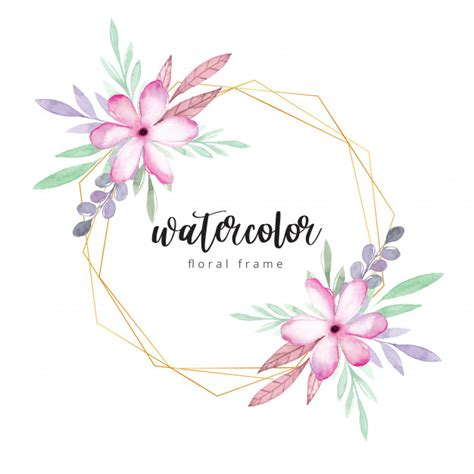 Premium Vector Watercolor floral frame with gold border