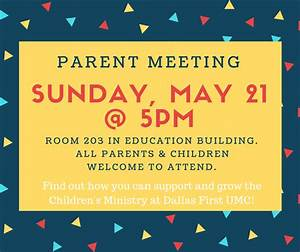 CHILDREN'S MINISTRY PARENT MEETING ON MAY 21 - Dallas ...