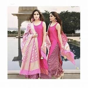 diamond colour chart pink banarasi silk partywear kurti plazo suit