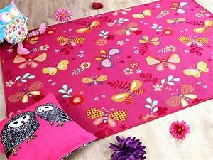 kinder spiel teppich schmetterling pink teppiche kinder With balkon teppich mit esprit tapete schmetterling