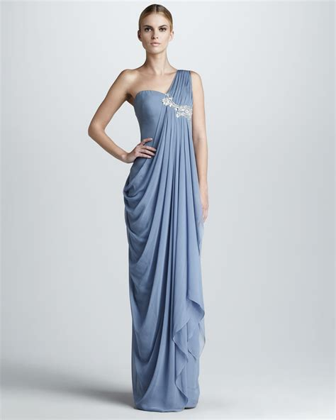 Drape Gowns - lyst notte by marchesa embroidered draped gown in blue