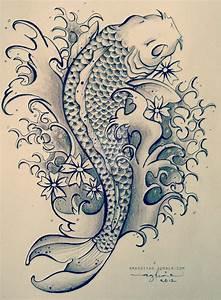 Black And Grey Koi Tattoo Design By Aghnia Mardiyah