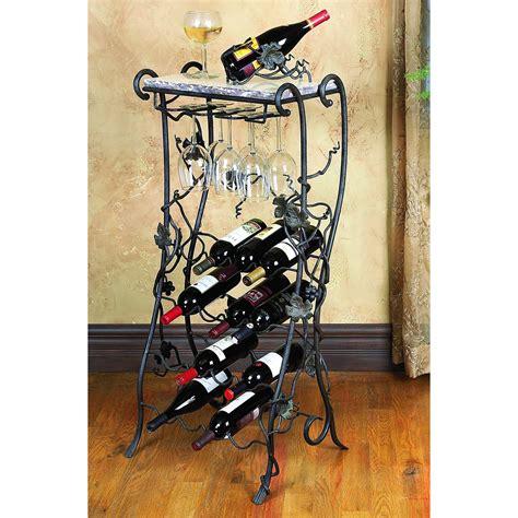 iron wine rack wrought iron wine rack server 16 bottle by toscana