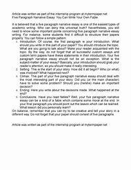 5 paragraph narrative essay example