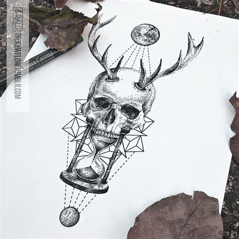 Skull Hourglass Mandala Astronomy Tattoo Design Inner