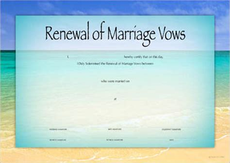 Vow Renewal Certificate Template by Renewal Of Vows Certificates Designer Certificates