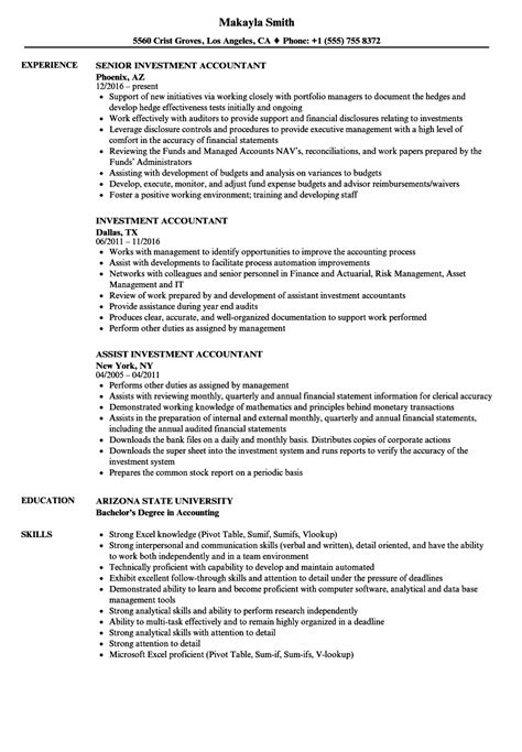 Accountant Resume by Investment Accountant Resume Sles Velvet