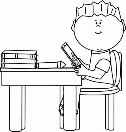 Desk Boy Tablet Clip Outline Sitting Clipart