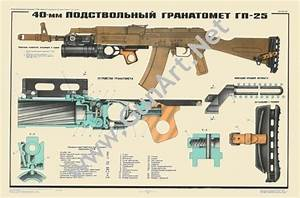 Color Poster Gp25 Grenade Launcher Akm Ak47 Ak74