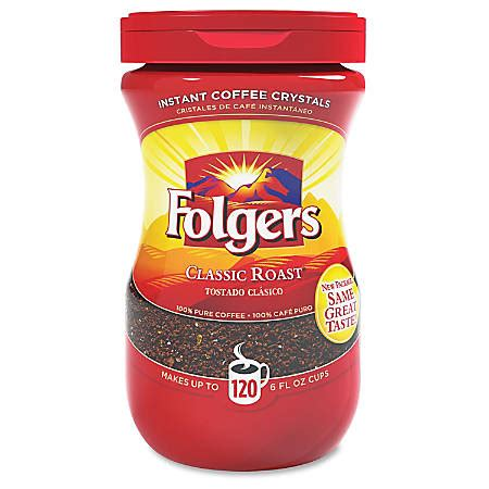 Folgers instant coffee crystals are the perfect addition to recipes to add a rich coffee flavor. Folgers Classic Roast Instant Coffee Crystals 8 Oz - Office Depot