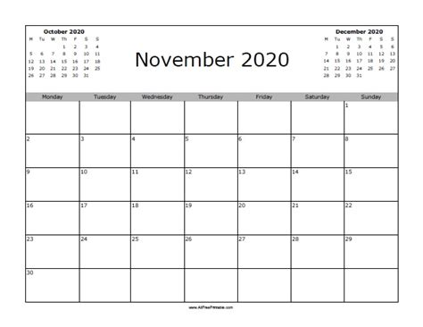 november  calendar  printable allfreeprintablecom