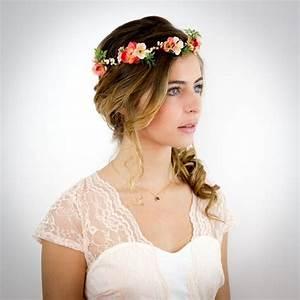 Couronne De Fleurs Cheveux Mariage : couronne de fleurs corail p che et ivoire no lie accessoire cheveux mariage coiffures and ~ Farleysfitness.com Idées de Décoration