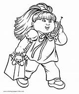 Cabbage Patch Coloring Pages Cartoon Doll Printable Sheets Character Clipart Characters Phoning Colouring Kid Walking While Child Sheet Children Activity sketch template