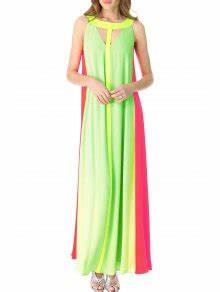 Hollow Color Block Sleeveless Maxi Dress NEON GREEN Maxi