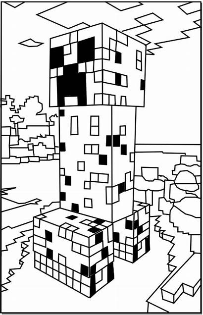 Minecraft Coloring Creeper Pages Printable Colouring Open