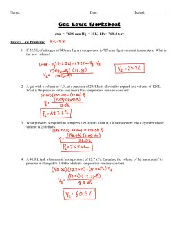 Sat Ii Practice Problems On Gas Laws