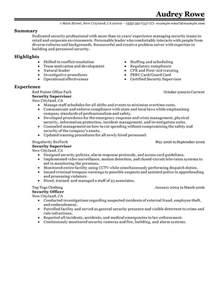 resume for security officer position security supervisor resume exles enforcement security resume sles livecareer