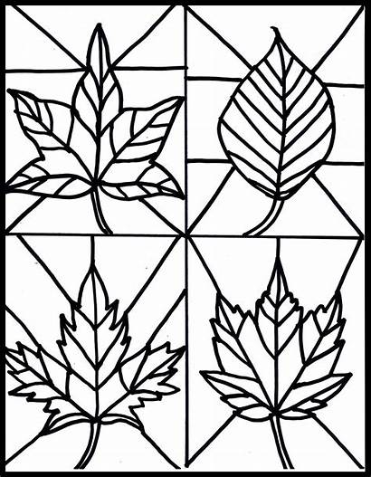 Stained Glass Printable Patterns Templates Fall Leaf