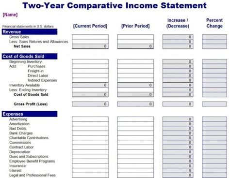income  expense statement template expense spreadshee