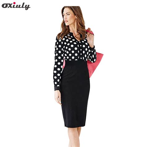 Oxiuly Women Office Dresses 2017 Autumn Polka Dot V Neck