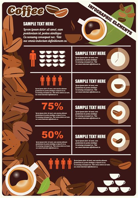 coffee infographics business template design vector