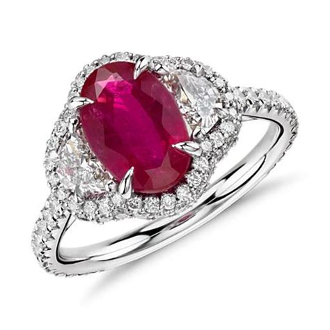 ruby and half moon halo ring in platinum and 18k yellow gold 2 24 ct blue nile
