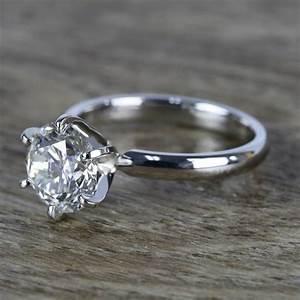 2 Carat Round Diamond In Platinum Six Prong Ring Setting