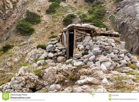 Wood And Stone Shelter Stock Image Image Of Slope