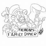 Diner Fredbears Fnaf Freddy Nights Five Lineart sketch template