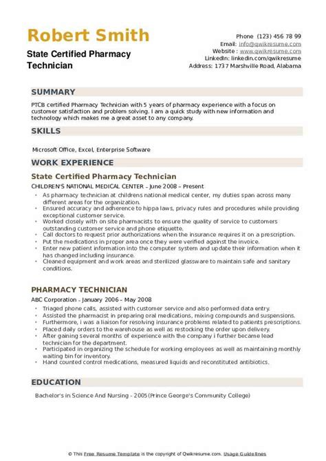 certified pharmacy technician resume samples qwikresume