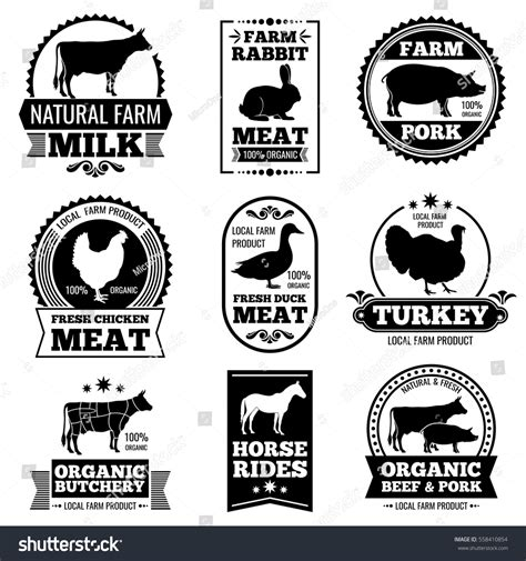 farm animal vintage meat butcher shop stock vector