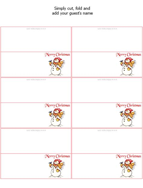 Place Card Templates Freechristmas Template Free Place Card Templates Placecards