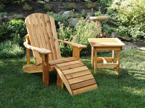 crafted adirondack chair with leg rest and side table