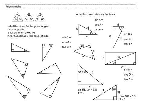 Right Triangle Trig Worksheet Homeschooldressagecom
