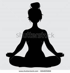Silhouette Young Woman Against White Background Stock ...