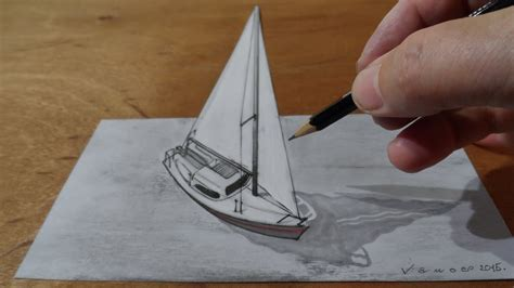 How To Make A Realistic Paper Boat by Drawing Sailboat 3d Trick On Paper